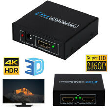 1 In 2 out Full HD HDMI Splitter 1X2 Repeater Amplifier 3D 1080p 4K Switch Box #