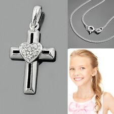 modernes Kinder Kommunion Konfirmation Taufe Kreuz mit Herz mit Kette Silber 925