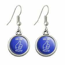 You Are Neato Cool Funny Humor Novelty Dangling Drop Charm Earrings