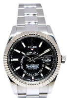 Rolex Sky-Dweller 18k Gold & Steel Black Dial 42mm Watch Box/Papers 326934 2018