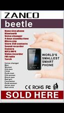 ZANCO BEETLE WORLDS SMALLEST SMART PHONE 12 VOICE CHANGER  UNLOCKED TOUCH SCREEN