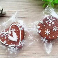 100Pcs Snowflake Transparent Cellophane Candy Cookie Bag For Wedding Christmas
