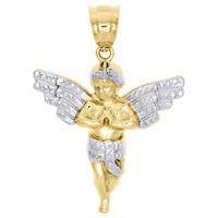 "Real 10K Yellow Gold Two Tone Diamond Cut Praying Angel Wing Pendant Charm 1.65"""