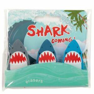 Fun Kids Novelty Shark Eraser Set of 3 Party Bag Filler Children's Toy