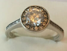 Gorgeous Sterling Silver JETTE Ring With Clear Stones - Size Q - Wear Not Scrap