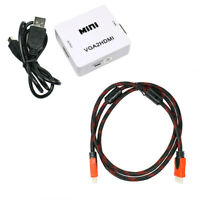 VGA to HDMI Audio Video Converter Box + Braided HDMI Cable for Laptop PC DVD PS4