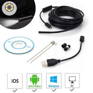 1m/1,5m/2m/3,5m/5m Inspektionskamera Endoskop 6LED Endoscope Wasserdicht Android