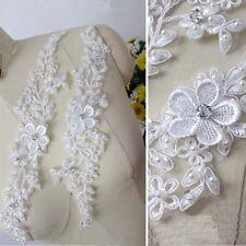 2Pcs Ivory Beads Lace Applique Bridal Dress Lace Fabric Neckline Applique