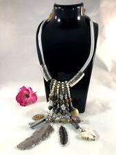 Necklace Statement Ladies Oversize  Metal Silver Beads Stones  European Stylish