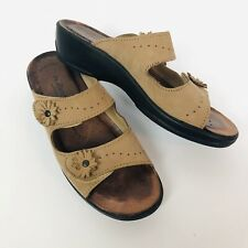 Flexus Spring Step Tan  Leather Slide Sandals EU 38 Anatomic anti shock 7.5