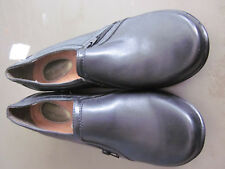 NEW! $70  HUSH PUPPIES  WOMENS SLIP ON SIDE ZIP LEATHER SHOES  BLACK 8W WIDE