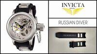 Black Silicone Rubber Watch Band Strap For Invicta RUSSIAN DIVER 26mm