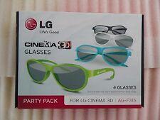 LG Cinema Passive 3D Glasses - Coloured Pack of 4 AG-F315 for LG Cinema 3D TV