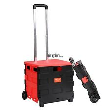 Portable Folding Shopping Cart Handcart Dolly with Lid and 2 Rolling Wheels HYFG