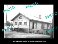 OLD LARGE HISTORIC PHOTO OF RED OAK ILLINOIS, THE RAILROAD DEPOT STATION c1940