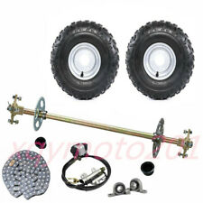 """Trike Drift Go Kart Rear Axle Hub Kit 145/70-6 Tires Brake Assembly Chain 7/8"""""""