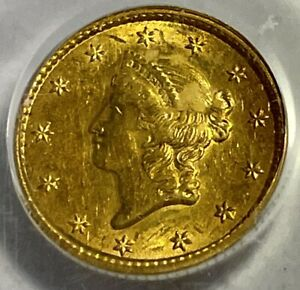 1854 Gold Liberty Head Dollar PCGS Certified MS61 Type1 Nice Example