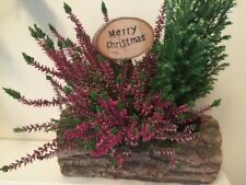 Merry Christmas Natural Wood Bark Rustic floralSign pine flower table decoration