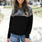 Women Long Sleeve Camo Sweatshirt Pullover Jumper Tee Tops Casual T Shirt Blouse