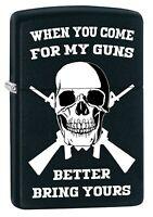 Zippo Lighter: Skull, Better Bring Your Guns - Black Matte 79548