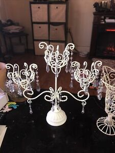Shabby Wrought Iron 3 Candle Holder Candelabra  And A Separate Candle Holder