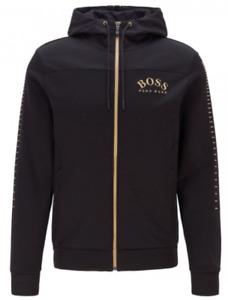 HUGO BOSS Mens Black & Gold Saggy Win Full Zip Hooded Sweater Small BNWT
