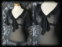Gothic Black Sheer Fitted MACABRE Pussy Bow Frill Blouse 8 10 Victorian Retro