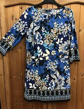 F&F * 12 * FLORAL BLUE & WHITE TUNIC DRESS * 3/4 LENGTH SLEEVES * SHIFT