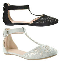 Womens T-Strap Ballet Flats Pointed Toe Rhinestone Glitter D'Orsay Black
