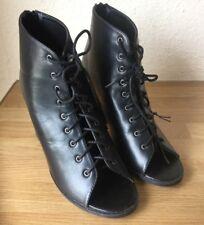 Fiore black high heel lace up shoe black size 8 Ladies Shoes Women's Shoes