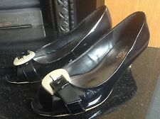 M&S Portfolio Black Patent Leather Peep Toe Shoes Size 4