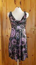 black purple silver metallic stretch satin cowl party evening dress S8-10 MORGAN