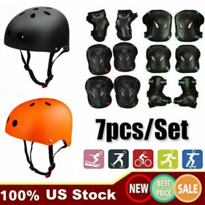 US 7 Pcs Helmet Knee Elbow Pads Adult Teens Sport Skateboard Protective Gear Set