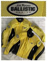 2pc LOT Joe Rocket Ballistic Motorcycle Moto Padded Jacket Mesh Yellow SZ M & L