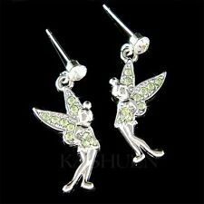 w Swarovski Crystal Green Tinkerbell Pixie Tinker fairy ANGEL Girls Earrings New
