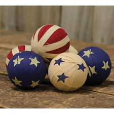 "6 Primitive Americana Rag Balls - 2.5"" Bowl Fillers - Patriotic"