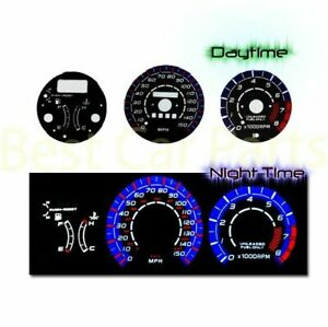 BLACK Indiglo El Gauges Kit Glow BLUE Reverse for 92-95 Mazda MX3 MX-3 w/ RPM