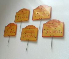 More details for vintage 5 french butchers shop display product adjustable price signs