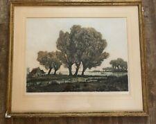 Vintage etching Alexander Liebmann tree farm house 32 x 27 framed print