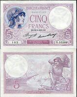 FRANCE 5 FRANCS 1933 P 72 AUNC
