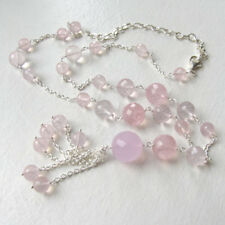Rose Quartz Faceted Bead Necklace Set In Sterling Silver