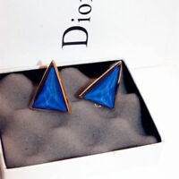 Details about  /18K Yellow Gold Plated Polished Triangle Pyramidal Stud Earrings Present Gift
