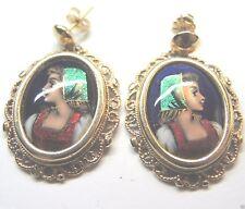 Antique Vintage Art Deco French Enamel 14K Yellow Gold Earrings Estate 12.2 Gram