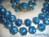 VINTAGE PEARLY  BLUE TWIST BEADS TWO STRAND NECKLACE with FABULOUS CROWN CLASP