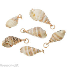 5PCs DIY Shell Charm Pendants Conch Natural Rose Gold