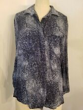 Cloth & Stone Button Down Blouse Sz M Blue Stars Top Womens