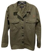 Rag & Bone Jean Women's Size Large Army Green Herringbone Military Shirt Jacket