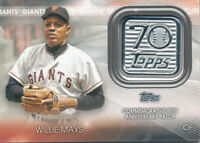Willie Mays 2021 Topps #70LP-WM 70th Anniversary Logo Patch Giants
