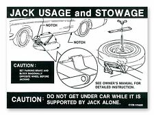 Mustang Jacking Instructions Decal 1967 - 1968 - Osborn Reproductions
