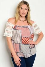 WOMEN'S PLUS SIZE RUST MULTI PRINT OFF SHOULER TOP W/CROCHETED LACE SLEEVES 2XL